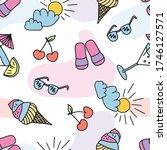 seamless doodle summer pattern. ... | Shutterstock .eps vector #1746127571