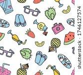 seamless doodle summer pattern. ... | Shutterstock .eps vector #1746127574