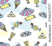 seamless doodle summer pattern. ... | Shutterstock .eps vector #1746127577