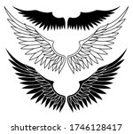 set with black wings on a white ... | Shutterstock .eps vector #1746128417