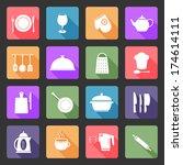 kitchen utensil icons in flat... | Shutterstock . vector #174614111