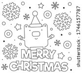 merry christmas. coloring page. ... | Shutterstock .eps vector #1746157787