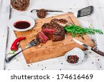 steak with spices  thyme and...