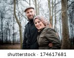 couple in love at the park... | Shutterstock . vector #174617681