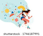 young happy girl riding retro... | Shutterstock .eps vector #1746187991