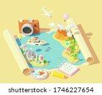 vector isometric summer travel... | Shutterstock .eps vector #1746227654