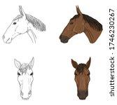 vector set of horses head... | Shutterstock .eps vector #1746230267