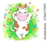 cute cartoon cow. vector... | Shutterstock .eps vector #1746277097