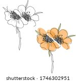 two black and white cut flowers ... | Shutterstock .eps vector #1746302951