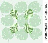 tropical leave modern flat... | Shutterstock .eps vector #1746363107