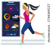 the girl is engaged in jogging... | Shutterstock .eps vector #1746369227
