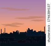 vector cityscape. sunrise over... | Shutterstock .eps vector #1746384137