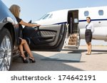elegant woman stepping out of... | Shutterstock . vector #174642191