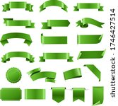 green labels and ribbon set...   Shutterstock .eps vector #1746427514