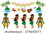hula dancer and hawaiian image... | Shutterstock .eps vector #174643577