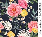 beautiful seamless floral... | Shutterstock . vector #1746443801