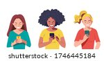 group of young women with... | Shutterstock .eps vector #1746445184
