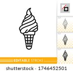 Wafer Cone Ice Cream Black Lin...