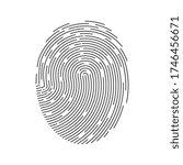 black fingerprint isolated on... | Shutterstock .eps vector #1746456671