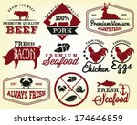 bacon,badge,barbecue,beef,business,butcher,chicken,collection,cooked,cow,crab,design,egg,farm,fish