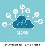 cloud computing over  blue ... | Shutterstock .eps vector #174647855