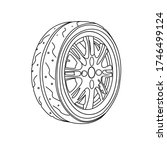 illustration of a car tire ... | Shutterstock .eps vector #1746499124