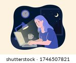 woman working at night. unhappy ... | Shutterstock .eps vector #1746507821