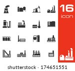 vector black factory icons set...