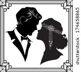 silhouette of couple in retro... | Shutterstock .eps vector #174658865