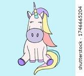 cute sitting rainbow unicorn... | Shutterstock .eps vector #1746665204