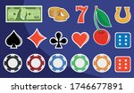 Slot machine design elements. Signs for slot machines. Casino chips, croupier, craps dice, and playing cards. Online casino. Slot machine mobile app icon. Playing Cards wins the jackpot. - stock vector