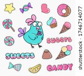 set of hand drawn stickers on a ... | Shutterstock .eps vector #1746714077