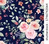 pink rose flower seamless... | Shutterstock . vector #1746742064