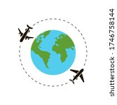earth and airplane around the... | Shutterstock . vector #1746758144