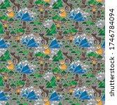 wild animals seamless pattern.... | Shutterstock .eps vector #1746784094