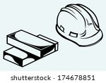 hard hat and bricks isolated on ...