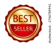 ribbon award best seller. gold... | Shutterstock .eps vector #1746789941
