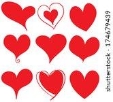 set of grunge vector hearts....   Shutterstock .eps vector #174679439