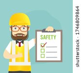 man safety inspector hold board ... | Shutterstock .eps vector #1746809864