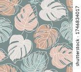 tropical monstera leaves... | Shutterstock .eps vector #1746834017