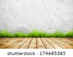 old wall and green grass on... | Shutterstock . vector #174685385