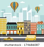 city street. vector | Shutterstock .eps vector #174686087