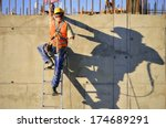 Construction worker at work - stock photo
