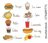 signed food icons set on white... | Shutterstock .eps vector #174689771