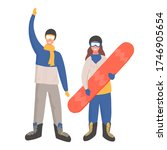 Two happy young people in winter sport clothes holding snowboard and waving vector cartoon illustration. Man and woman flat characters. Ski resort concept for your design and web. - stock vector