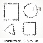 vector set of stamps and... | Shutterstock .eps vector #174692285