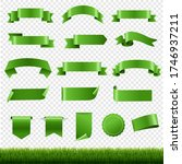 green labels and ribbon set... | Shutterstock .eps vector #1746937211