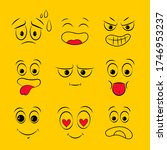 set of emoticon hand drawn... | Shutterstock . vector #1746953237