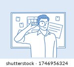 businessman with magnifying... | Shutterstock .eps vector #1746956324