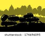 iron scrap car junkyard vector... | Shutterstock .eps vector #174696095